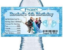 20 FROZEN BIRTHDAY PARTY water bottle labels ~ full cast design ~ glossy ~ waterproof ink