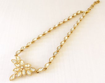 Vintage Preppy Monet Gold Tone and Crystal Festoon Statemen  Necklace - Wedding, Bridal, Mother of the Bride, Bridesmaid, GF