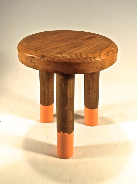 Hand Made Oak STOOL TABLE Legs Dipped In CORAL Paint Trendy