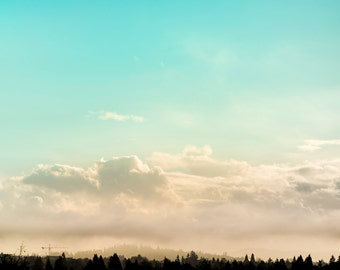 Skyline Landscape Photography, Aqua Sky Photo, Fluffy White Clouds, Tree Silhouette