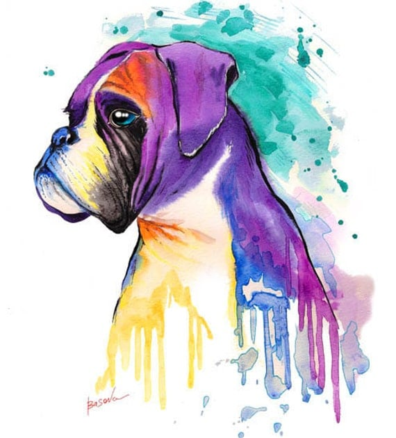 Custom pet portrait boxer dog watercolor painting custom pet for Dog painting artist