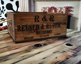 Reused and Rustic Wooden Crate with Rope Handles.