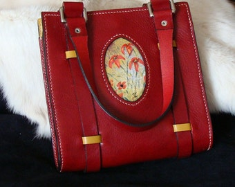 Handbag red and yellow leather, stitching point sellier, handmade, exclusive spring, was