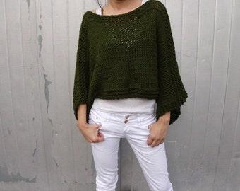 Green sweater cropped wool swetar knit sweater cropped army green sweater