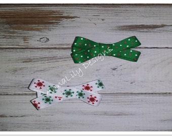 Mini 3/8 Christmas Ribbon Bows on Ribbon Covered Hair Clip