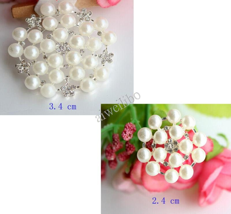 6 pcs pearl wedding buttons wholesale crystal rhinestone for Wedding craft supplies