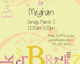 B is for Baby Invites, baby shower invitations, alphabet letter announcements