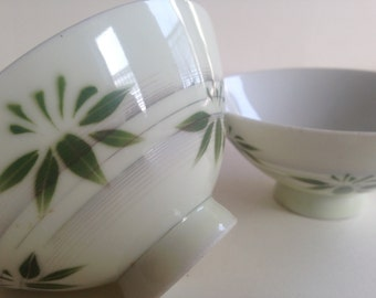 JAPANESE Rice Bowls Green Leaf Decoration Delicate Porcelain Set of Two Vintage Dining