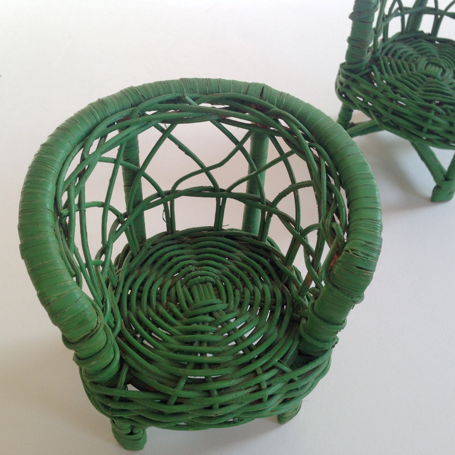 Etsy Vintage Bamboo Furniture: TOY WICKER Furniture Green Armchairs Doll House Miniature