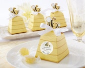 20x Yellow Honey Bee DIY Favour Box (with Ribbons) Perfect for Baby Shower or Birthday Bomboniere