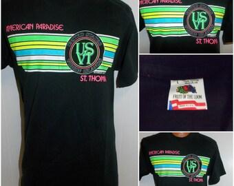 1980's American Paradise United States Virgin Islands St Thomas Souvenir T Shirt Size Adult Large