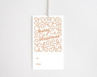 Christmas Gift Tags - Merry Christmas Swirl