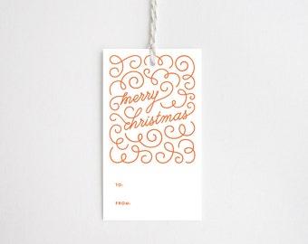 Christmas Gift Tags - Merry Christmas Swirl