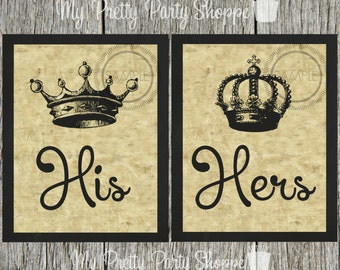 Superior 2 Piece Printable Set 8x10 His U0026 Her Bathroom Signs / Art / Crowns / Crown