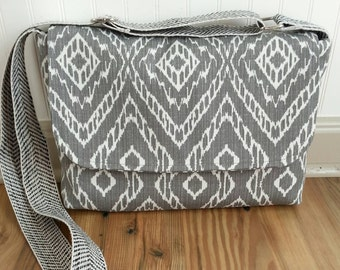 Grey chevron messenger bag, jw service bag, ipad bag, cross body,  made to order