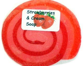 Handmade Strawberries & Cream Luxury Glycerin Soap suitable for vegans