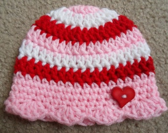 Valentines Girl Crochet Beanie. Available in sizes Newborn, 0-3 Mth, 3-6 Mths, 6-9 Mths,  9-12 Mths.