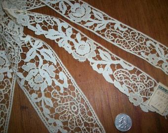 Salesman's sample set of 4 pieces of unusual cotton lace trims