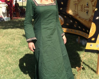 Medieval Forest Mystic Dress- cotton- forest green- XL- ready to ship