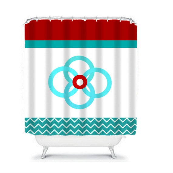 Aqua Blue White Chevron Print Shower Curtain By