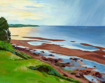 Canadian Painting. Nova Scotia Print. Colourful Sky. Canadian Wall Decor