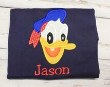 Donald Duck Shirt, Applique Boy Shirt,
