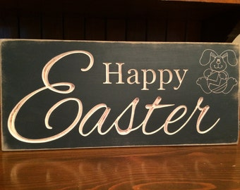 "Custom Carved Wooden Sign - ""Happy Easter"""