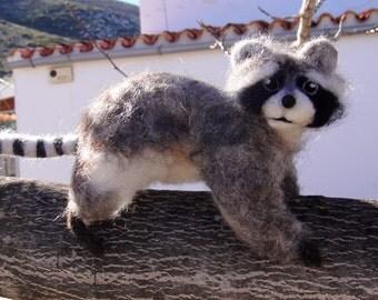 Ooh a Raccoon! - cheeky needle felted, posable Raccoon