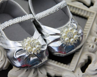 Baby girl sparkling silver Shoes,grey Baby Shoes,Baby Girl crib shoes  Ready to ship newborn baby girls shoes crib shoes