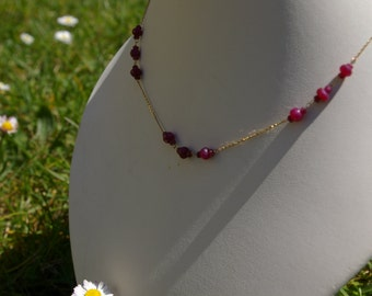Ruby necklace beads on yellow gold chain
