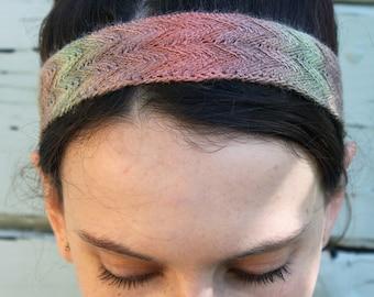Silk Knit Hand Dyed Chevron Ombre Headband