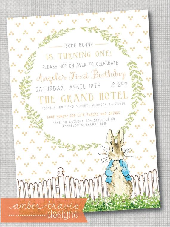 peter rabbit invitation first birthday by ambertravisdesigns, Birthday invitations