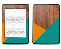 Geometric Orange Teal Wood Print - Kindle 2014 / Fire HD 8.9 / 2012 / Fire / Paperwhite / Voyager / Touch / 4 / Keyboard Decal Skin Cover
