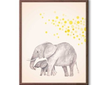 Baby Nursery Decor, Elephant Nursery Art, Kids Wall Art, Playroom Decor, Elephant Watercolor Nursery Art, New Baby Gift, E1503