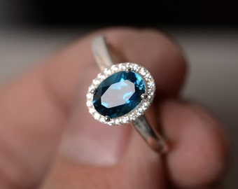 London Blue Topaz Ring Sterling Silver Gemstone Ring November Birthstone Ring Oval Ring