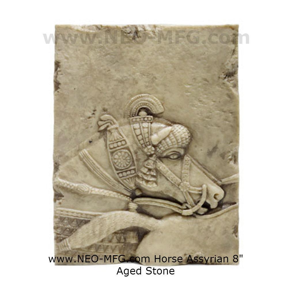 Horse assyrian stone carving sculpture wall frieze
