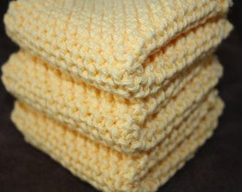 Yellow Knit Dish Cloth, Yellow Knit Dishcloth, Set of 3