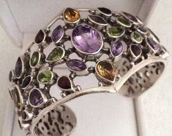 Stunning Couture Cuff Bracelet Semi Precious Gemstone Bezel Set Garnet Peridot Amethyst Citrine 925 Sterling Silver