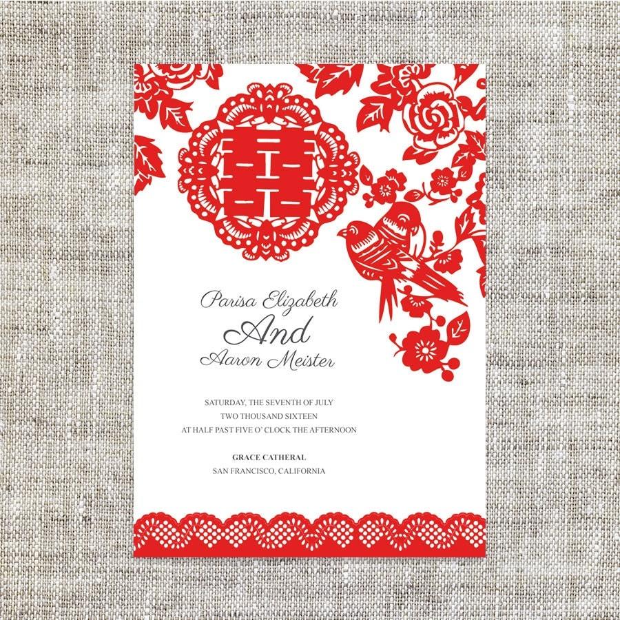 Old Fashioned Chinese Wedding Invite Component Invitation Card
