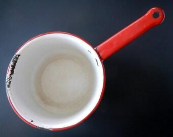 Vintage Enamelware Sauce Pan Pot - white, red trim - 1950s - retro kitchen, rustic, country kitchen, primitive, camping, farmhouse, cottage