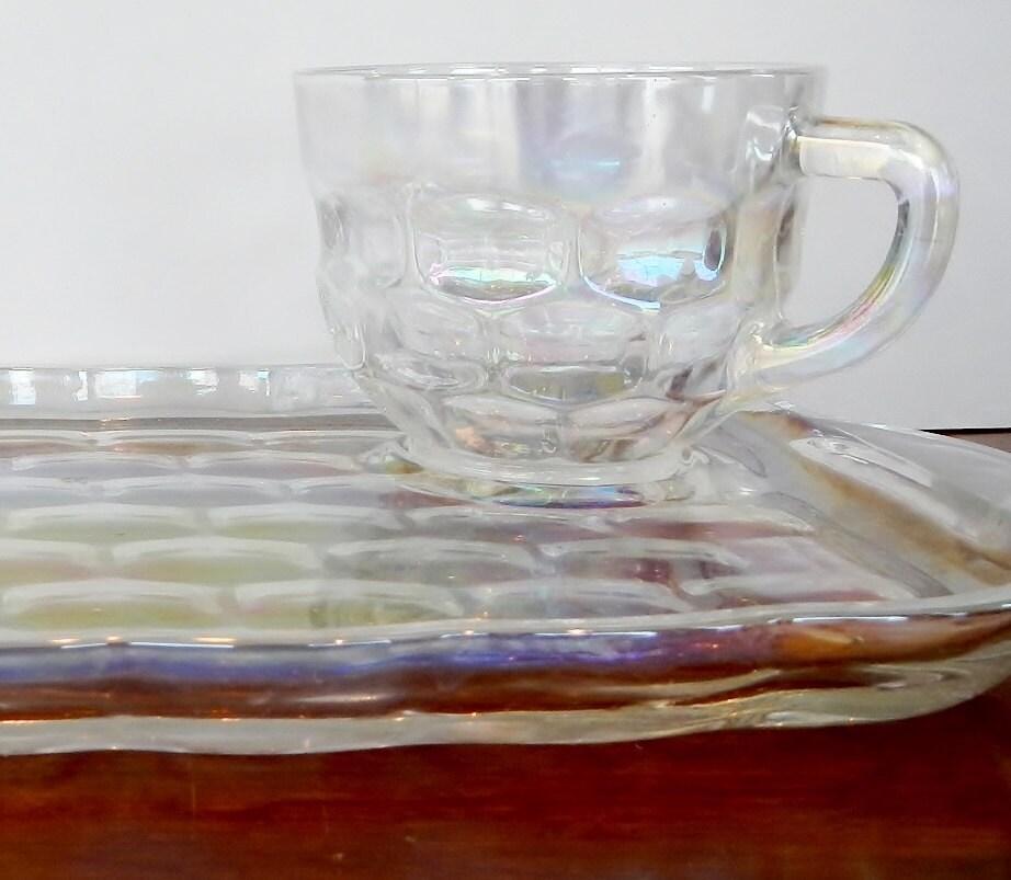 Vintage federal glass iridescent snack set piece