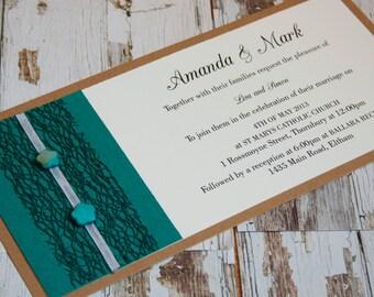 shelly teal mesh trim wedding invitation