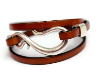 Womens Leather Bracelet, Leather Cuff Bracelet for Women, Wrap Around Bracelet, Modern Leather Bracelet Gift, Bohemian Wedding Jewelry, PPP