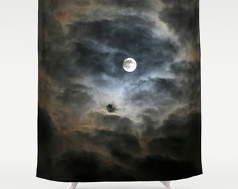 Moon Shower Curtain-Dark Bathroom Decor-Nature Bath Decor-Night Sky Shower Curtain-Housewarming Gift Ideas-Navy Blue-Tan-Black-Clouds
