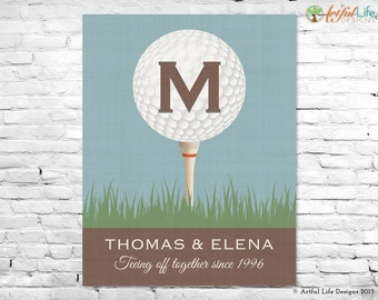 GIFT FOR GOLFERS, Gift For Parents, Golf Monogram, Golf Wall Art,  Personalized Part 85