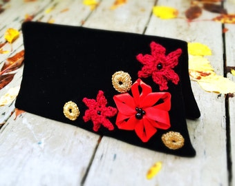 Black clutch Upcycled unique handmade bag velvet fold-over retro embellished in art-deco style with red and golden flowers