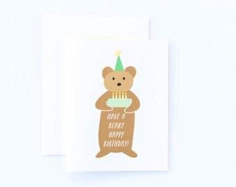 Bear Birthday Card, Cute Beary Happy Birthday Card, Bear Card, Cute Birthday Card, Childrens Birthday Card, Kids Birthday Card