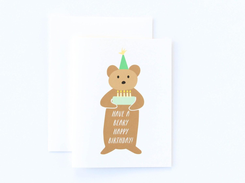Bear Birthday Card Cute Beary Happy Birthday Card Bear Card – Birthday Card Bear