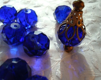 Big Cobalt Blue, Hand Cut Glass Rondelles. 4 Sizes 12/14/16/mm + 18mm AB Electroplated. Lot Options. Deep Translucent Blue, Hand Cut.