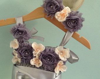 Coordinating headband for vintage inspired Flower Girl Dress